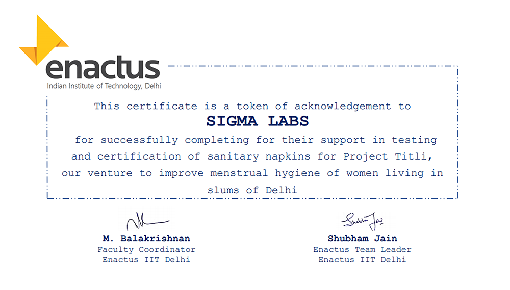 Certification of Sanitary Pads for Project Titli